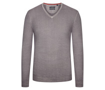 Pullover mit V-Ausschnitt aus Merinowolle in Grau