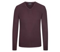 Pullover mit V-Ausschnitt aus Merinowolle in Lila