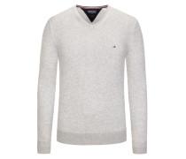 Pullover mit V-Ausschnitt in Hellgrau