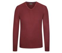 Pullover mit V-Ausschnitt aus Merinowolle in Rot