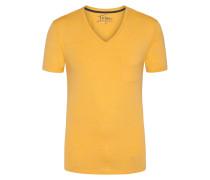 V-Neck Tshirt mit Brusttasche in Gelb