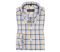 Kariertes Oxford-Freizeithemd, langarm in Gelb