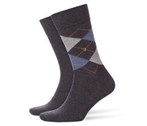 Socken mit Argyle-Muster in Anthrazit