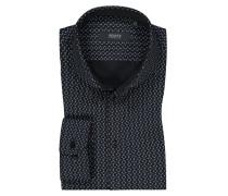Jerseyhemd mit Muster, Slim Fit in Schwarz