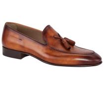 Loafer mit Leder-Quasten in Cognac