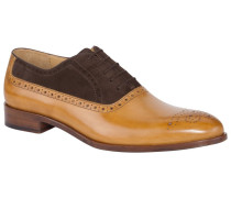 Zweifarbiger Businessschuh, Oxford in Cognac
