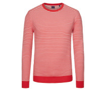 Pullover im Baumwoll-Mix, gestreift in Rot