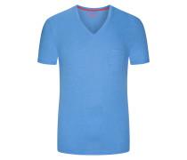 V-Neck Tshirt mit Brusttasche in Hellblau