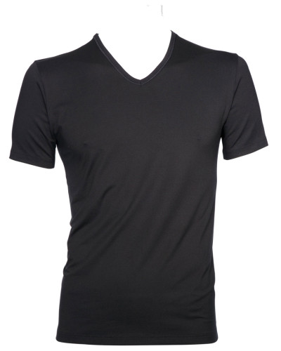 V-Kragen T-Shirt in Schwarz