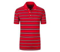 Poloshirt mit Brusttasche, gestreift in Rot