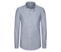 Trachtenhemd, feines Strifenmuster in Blau