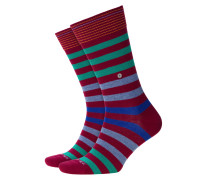 Socken mit Querstreifen in Bordeaux