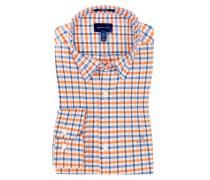 Kariertes Oberhemd, Comfort Stretch in Orange