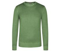 Pullover aus 100% Schurwolle, O-Neck in Gruen