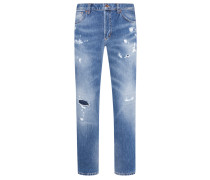 Tapered Fit Jeans mit niedriger Leibhöhe in Blau