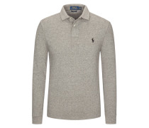 Poloshirt, Custom Slim Fit, langarm in Grau