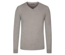 V-Ausschnitt Pullover, 100% Merinowolle in Beige