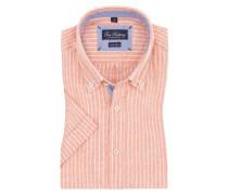 Kurzarmhemd aus Leinen in Orange