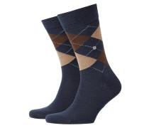 Socken aus Schurwolle, Argyle-Muster in Navy