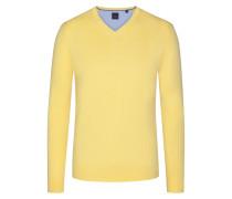Basic V-Neck Pullover in Gelb