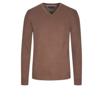 Merino/Kaschmir V-Neck Pullover in Braun