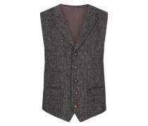 Harris-Tweed Weste, Fischgrätmuster in Grau