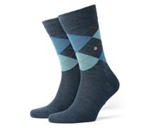 Socken aus Schurwolle, Argyle-Muster in Denim