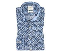 Level Five body fit, Leinenhemd in Blau