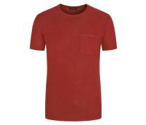 T-Shirt, O-Neck, im Leinenmix in Rot