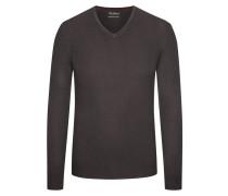 Pullover mit V-Ausschnitt aus Merinowolle in Braun