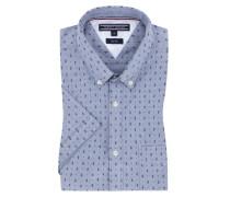 Kurzarmhemd mit Brusttasche, Slim-Fit in Blau