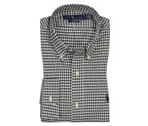 Kariertes Oberhemd, Custom Fit in Schwarz