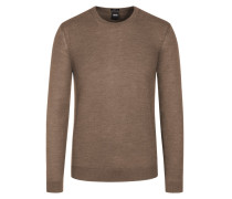 Basic Pullover, O-Neck, Slim Fit in Beige