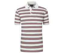 Poloshirt mit Brusttasche, gestreift in Weiss