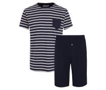 Kurzer Schlafanzug mit Streifen Muster in Marine