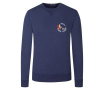 Sweatshirt mit Logo-Stickerei in Marine