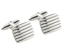 Manschettenknöpfe mit feinen Rillen in Silber