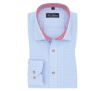 Trachtenhemd mit Karo-Muster in Hellblau