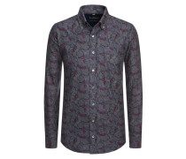 Flanellhemd im Paisley-Muster in Grau