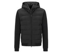 Daunen-Sweat-Jacke im Material Mix in Grau