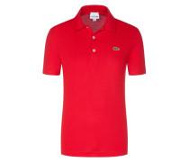 Slim Fit Poloshirt mit Waffelpique-Struktur in Rot