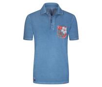 Poloshirt mit Brusttasche in Blau