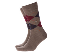 Socken aus Schurwolle, Argyle-Muster in Beige