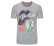 Rundhals T-Shirt, sommerlicher 'Hawaii'-Print