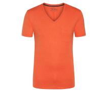 V-Neck Tshirt mit Brusttasche in Rost