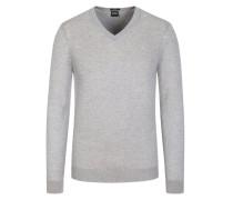 Pullover, V-Neck, Slim Fit in Grau