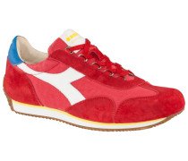 Sneaker mit Veloursleder-Patches in Rot