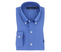 Slim Fit Oberhemd mit Button-Down in Blau