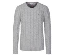 Pullover, O-Neck, im Zopfstrick-Muster in Grau