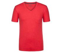 V-Neck Tshirt mit Brusttasche in Rot